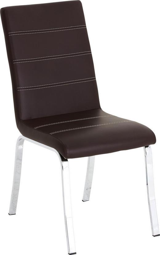 STUHL Lederlook Braun, Chromfarben - Chromfarben/Beige, Design, Textil/Metall (44/95/58cm) - Dieter Knoll