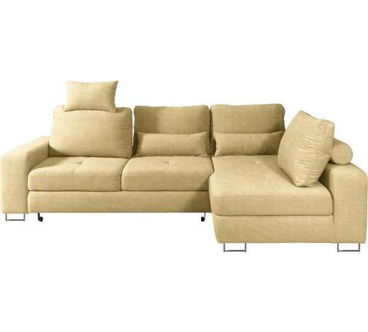 WOHNLANDSCHAFT in Textil Gelb  - Gelb, Design, Textil/Metall (260/188cm) - Hom`in