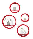 SET ZIDNIH POLICA - crvena, Design, drvni materijal (39,5/39,5/9cm) - Boxxx