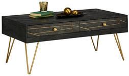 COUCHTISCH in Holz 115/60/48 cm   - Goldfarben/Schwarz, Trend, Holz/Metall (115/60/48cm) - Carryhome