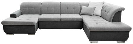 WOHNLANDSCHAFT Grau Webstoff  - Silberfarben/Grau, Design, Textil/Metall (145/342/208cm) - Cantus