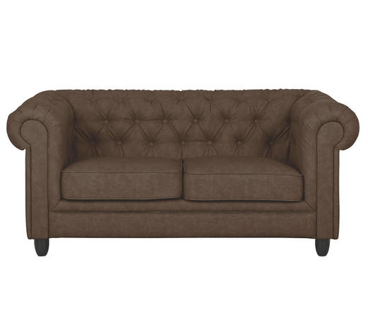Chesterfield Sofa Zweisitzer Lederlook Dunkelbraun