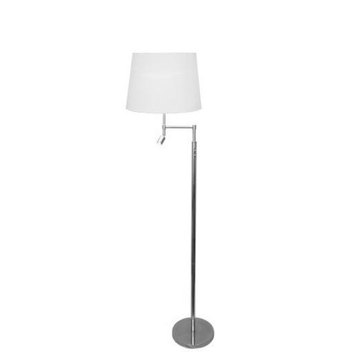 STEHLEUCHTE - Chromfarben/Weiß, LIFESTYLE, Textil/Metall (36/155cm) - BY-RYDENS