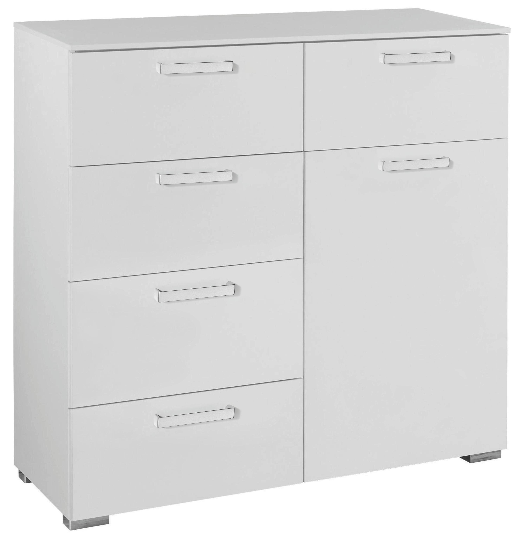 KOMMODE Weiß - Alufarben/Weiß, Design, Holzwerkstoff/Kunststoff (110/106/42cm) - HOM`IN