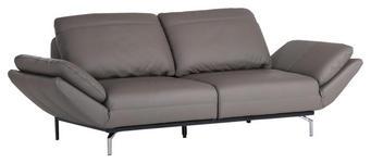 SOFA in Leder Grau  - Chromfarben/Grau, KONVENTIONELL, Leder/Metall (260/88-105/105-135cm) - Cantus