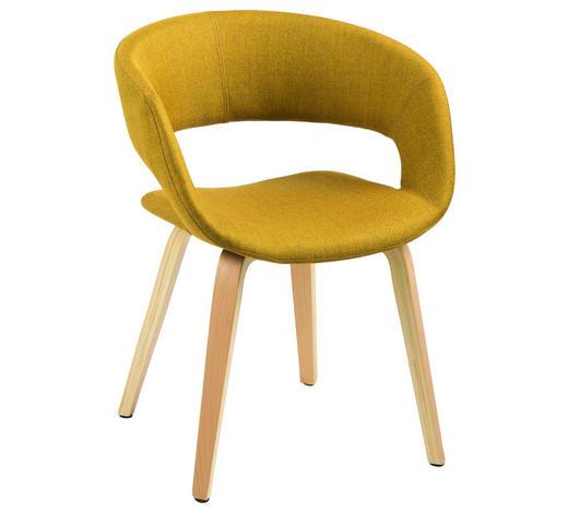 ŽIDLE, žlutá - žlutá, Design, dřevo/textil (56/75/52cm) - Carryhome