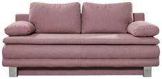 ZOFA S POSTELJNO FUNKCIJO,  svetlo roza tekstil - krom/svetlo roza, Design, kovina/tekstil (194/96/86cm) - Novel