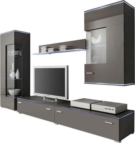 WOHNWAND Grau   Silberfarben/Grau, Design, Glas/Kunststoff (230/148