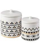VORRATSDOSENSET 2-teilig  - Schwarz/Weiß, Trend, Keramik - Ambia Home