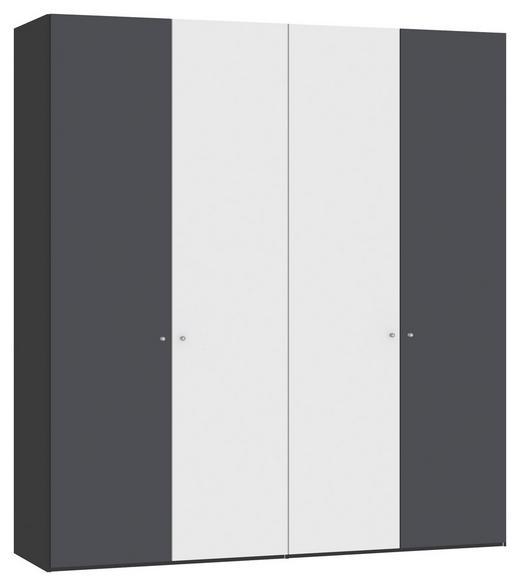 DREHTÜRENSCHRANK 4-türig Anthrazit, Schwarz, Weiß - Anthrazit/Silberfarben, Design, Glas/Holzwerkstoff (202,5/220/58,5cm) - Jutzler