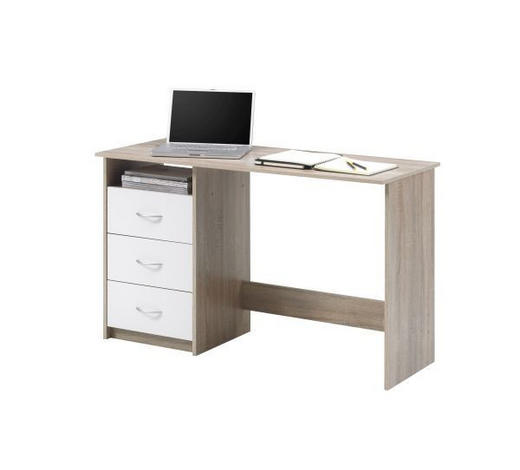 PISALNA MIZA leseni material hrast sonoma  - hrast sonoma/srebrna, Design, umetna masa/leseni material (120/77/50cm) - Boxxx