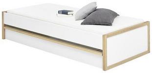 BETT Pinie massiv Weiß, Kieferfarben  - Weiß/Kieferfarben, Basics, Holz (90/200cm) - Xora