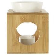 AROMALAMPA - bílá/hnědá, Basics, dřevo/keramika (12/12/15cm)