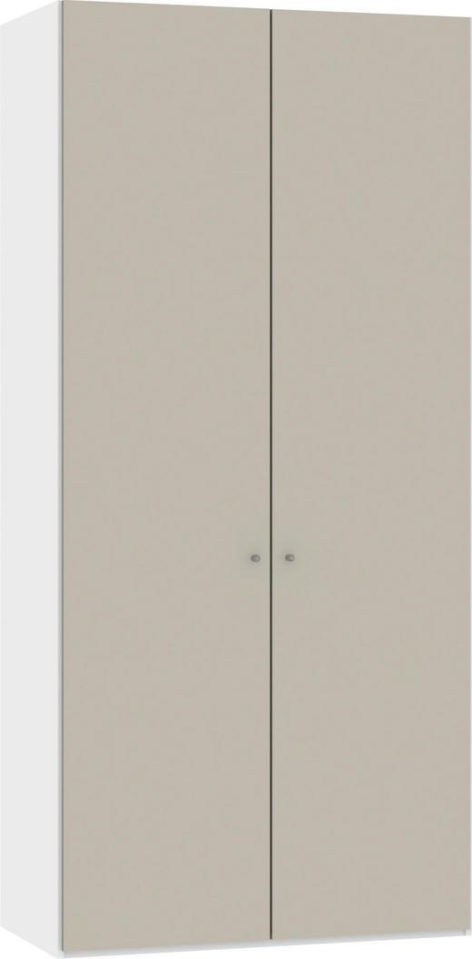 DREHTÜRENSCHRANK 2-türig Sandfarben, Weiß - Sandfarben/Silberfarben, Design, Glas/Metall (101,9/220/37,5cm) - Jutzler