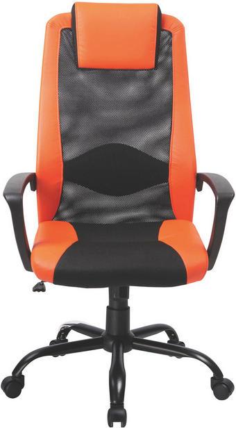 CHEFSESSEL Lederlook, Netzbespannung Orange, Schwarz - Schwarz/Orange, Design, Kunststoff/Textil (66/111-118,5/62cm) - Carryhome