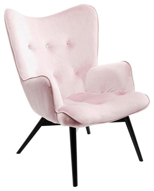 SESSEL Samt Rosa - Schwarz/Rosa, Trend, Holz/Textil (59/92/63cm) - Kare-Design