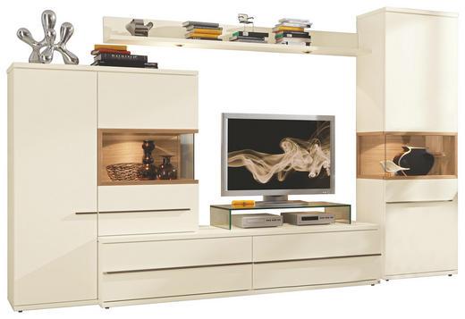 WOHNWAND Strukturbuche furniert Weiß - Alufarben/Weiß, Design, Holz/Metall (320/202/57cm) - MUSTERRING
