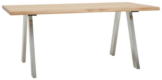 ESSTISCH in Holz, Metall 180/100/77 cm - Edelstahlfarben/Eichefarben, Design, Holz/Metall (180/100/77cm) - Dieter Knoll