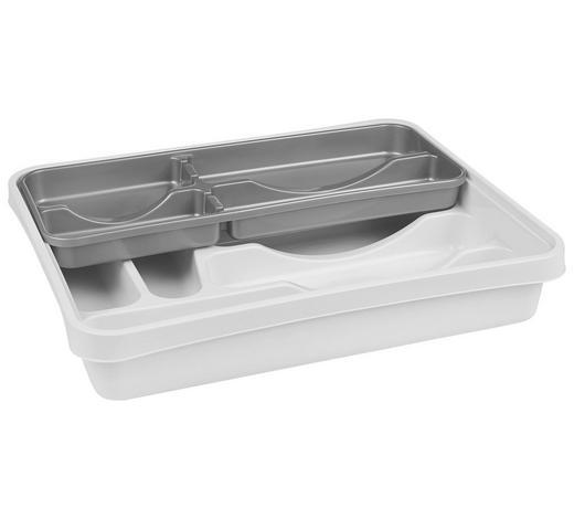 BESTECKEINSATZ - Silberfarben/Weiß, Basics, Kunststoff (39,5/30,5/7cm) - Plast 1