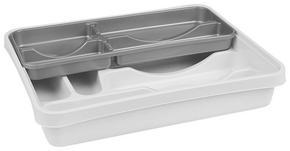 BESTICKLÅDA - vit/silver, Basics, plast (39,5/30,5/7cm)