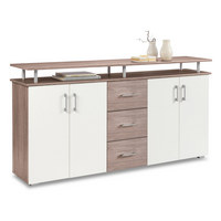 KOMMODE Sonoma Eiche, Weiß - Silberfarben/Alufarben, Basics, Holz/Kunststoff (180/90/40cm) - Boxxx