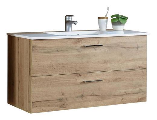 WASCHBECKENUNTERSCHRANK - Eichefarben/Silberfarben, MODERN, Holzwerkstoff/Kunststoff (99/53/45cm) - Xora