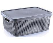 AUFBEWAHRUNGSBOX    38,5/28/15,5 cm  - Dunkelgrau, Basics, Kunststoff (38,5/28/15,5cm) - Homeware