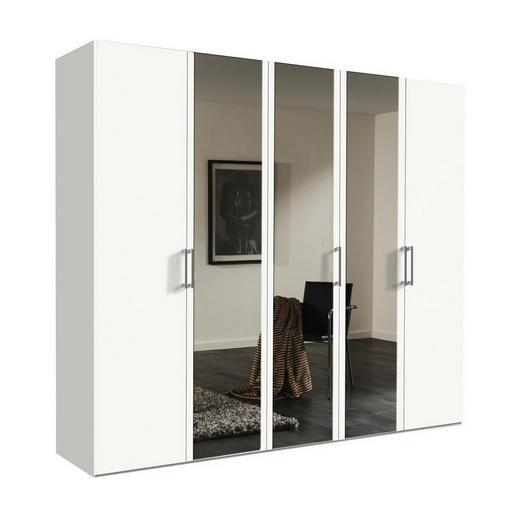 DREHTÜRENSCHRANK 5  -türig Weiß - Alufarben/Weiß, KONVENTIONELL, Glas/Holzwerkstoff (250/216/58cm) - Hom`in