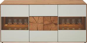SIDEBOARD Kerneiche vollmassiv matt, lackiert, gebürstet, gewachst - Eichefarben/Weiß, Design, Glas/Holz (175/80,5/49cm) - Valnatura