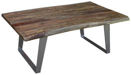 COUCHTISCH in Holz, Metall 115/70/45 cm   - Silberfarben/Akaziefarben, Design, Holz/Metall (115/70/45cm) - Carryhome