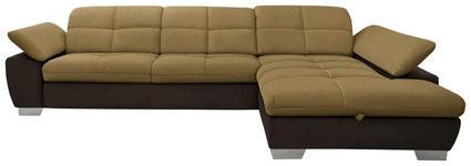 WOHNLANDSCHAFT in Textil Braun, Gelb - Chromfarben/Gelb, Design, Textil/Metall (297/204cm) - Xora