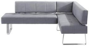 ECKBANK 227/165 cm  in Grau, Edelstahlfarben  - Edelstahlfarben/Grau, Design, Holz/Textil (227/165cm) - Moderano