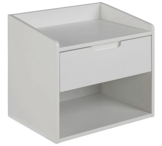 NOČNÍ STOLEK, bílá - bílá, Konvenční, kompozitní dřevo (40/35/30cm)