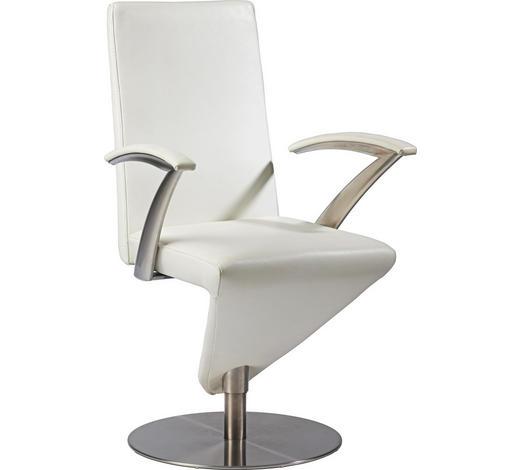 ARMLEHNSTUHL Weiß  - Weiß, Design, Leder/Metall (59/99/61cm) - Musterring