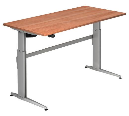 SCHREIBTISCH - Silberfarben/Nussbaumfarben, KONVENTIONELL, Holzwerkstoff/Metall (160/72-119/80cm)
