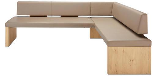 ECKBANK Echtleder Wildeiche Eichefarben, Grau - Eichefarben/Grau, Design, Leder/Holz (234/160cm) - Venjakob