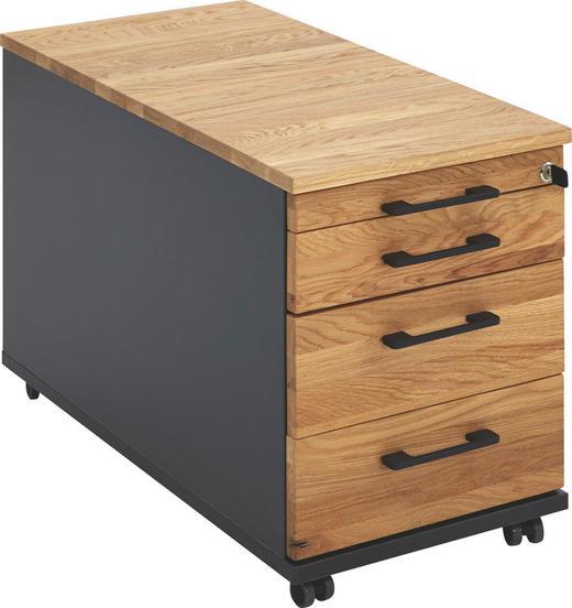 ROLLCONTAINER Eiche massiv Anthrazit, Eichefarben - Eichefarben/Anthrazit, Design, Holz/Kunststoff (43,1/53,7/79cm) - Moderano