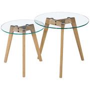 Beistelltischset in Eichefarben, Klar - Klar/Eichefarben, Design, Glas/Holz (50/40/50/40/45/40cm) - Carryhome