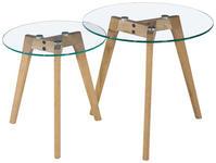 BEISTELLTISCHSET in Holz, Glas 50/40/50/40/45/40 cm  - Klar/Eichefarben, Design, Glas/Holz (50/40/50/40/45/40cm) - Carryhome
