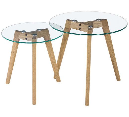 BEISTELLTISCHSET in Klar, Eichefarben - Klar/Eichefarben, Design, Glas/Holz (50/40/50/40/45/40cm) - Carryhome