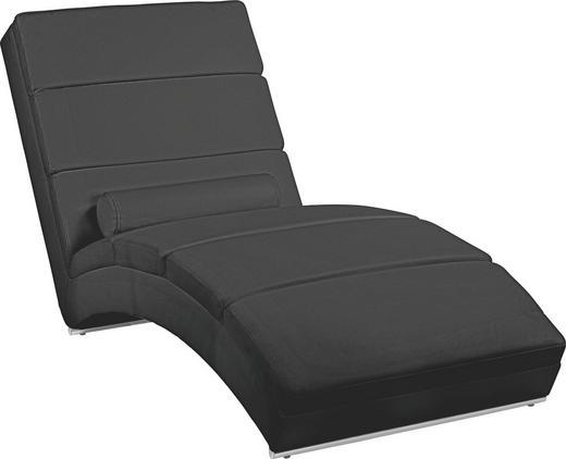 RELAXLIEGE Lederlook Schwarz - Chromfarben/Schwarz, Design, Kunststoff/Textil (75/85/175cm) - Carryhome