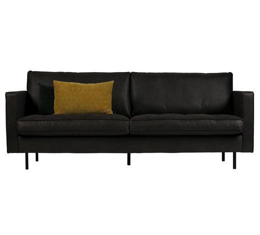 DVOJSEDÁK, černá, kombinace pravá kůže/látka - černá, Design, kůže (230/83/88cm) - Ambia Home