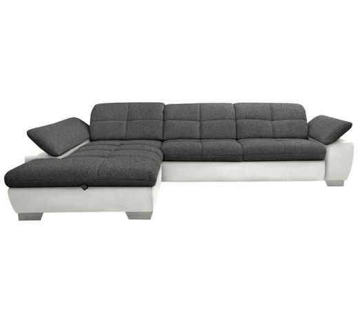 WOHNLANDSCHAFT in Textil Grau, Beige - Chromfarben/Beige, Design, Textil/Metall (204/297cm) - Xora