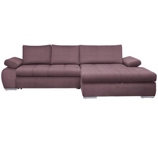 WOHNLANDSCHAFT in Textil Rosa  - Chromfarben/Rosa, Design, Kunststoff/Textil (294/173cm) - Carryhome