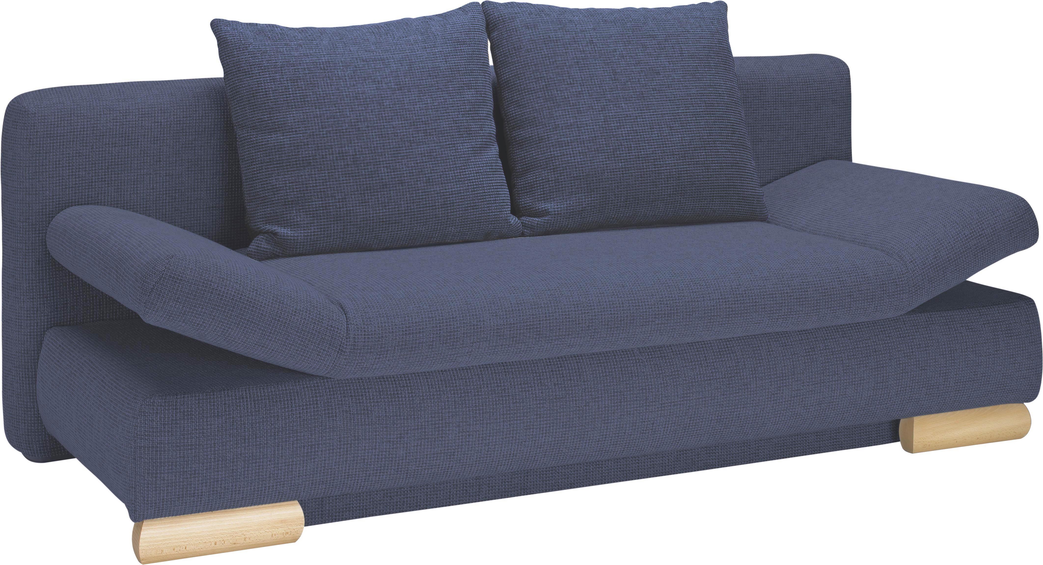 SCHLAFSOFA Blau - Blau/Buchefarben, LIFESTYLE, Holz/Textil (195/75/90/145cm) - NOVEL