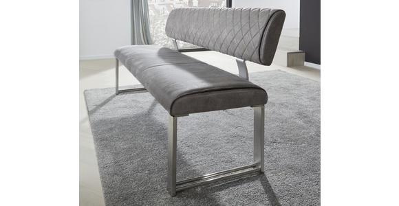SITZBANK 140/87,5/62 cm  in Edelstahlfarben, Dunkelgrau  - Edelstahlfarben/Dunkelgrau, Design, Textil/Metall (140/87,5/62cm) - Dieter Knoll
