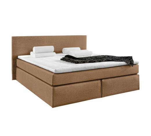 boxspringbett topper webstoff inkl matratze hellbraun design textil 160 bezug 120x200