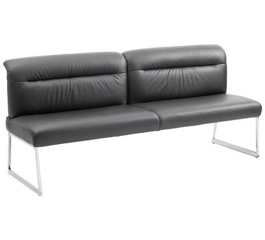 SITZBANK 203/90/74 cm  in Schwarz, Edelstahlfarben - Edelstahlfarben/Schwarz, Design, Leder/Metall (203/90/74cm) - Joop!
