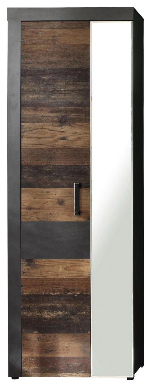 GARDEROBENSCHRANK - Grau/Pinienfarben, Trend, Glas/Holzwerkstoff (65 192 34cm) - Xora