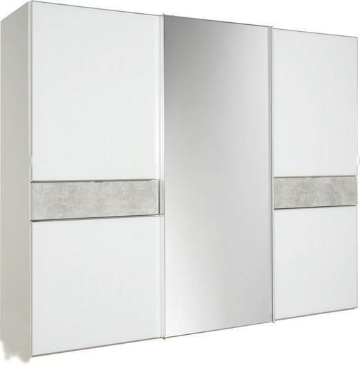 SCHWEBETÜRENSCHRANK 3-türig Grau, Weiß - Chromfarben/Weiß, Design, Glas/Holzwerkstoff (280/222/68cm) - Moderano